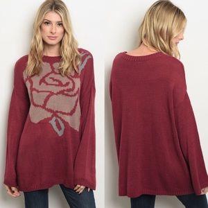 Berry Mauve Rose Knit Sweater
